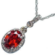 7.56 Ct Oval Cut Style Shape Red Garnet / Ruby CZ 18K White Gold Plated Pendant