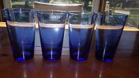 Mediterran Blue Flare Tumblers Ice Tea Glasses Flat 4 17oz RARE