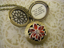 Proverbs 31 Locket necklace She is worth more than rubies Red Lotus Blossom