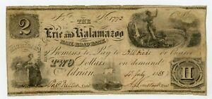 1838 $2 The Erie and Kalamazoo Rail Road Bank - Adrian, MICHIGAN Note