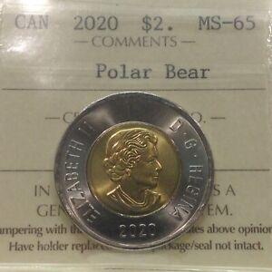 2020 - Twoonie - Polar Bear - ICCS - MS-65