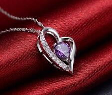 Halskette Herz Anhänger mit Swarovski Elements Zirkonia Herzkette Weißgold pl.