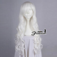 Anime 80CM Long White Curly Hair Basic Lolita Party Cosplay Wig Heat Resistant