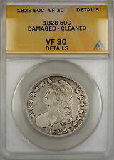 1828 Capped Bust Silver Half 50c Coin ANACS VF-30 Details Damaged-Cleaned PRX