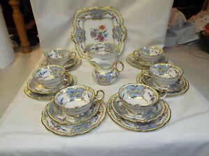 Excellent antique 21 piece Paragon Star China handpainted 6121 pattern tea set
