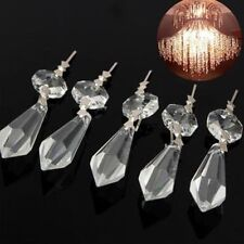 10 Clear Crystals Glass Chandelier Lamp Prisms Parts Hanging Drops Pendants 38mm