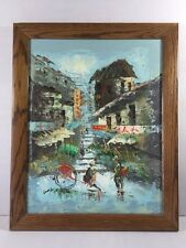 Impressionist Painting Chinese Cityscape Rickshaw Oil on Board Multi-Color Lam