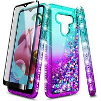 For LG K51 / Reflect Case, Liquid Glitter Phone Cover + Tempered Glass Protector