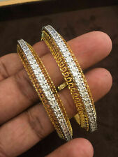 Pave 2.40 Cts Round Brilliant Cut Natural Diamonds Bangles In Solid 14Carat Gold