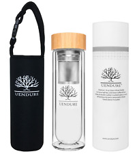 UEndure Tea Infuser Bottle with Bamboo Lid - Double-Walled 16 oz BPA-Free