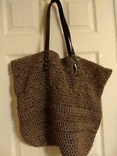 Merona Straw/Paper/Leather Large Beach Tote Shopper Bag Purse Handbag, Brown