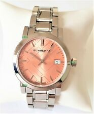 Burberry Watch Womens Silver Band Pink Dial Silver Case BU9124 Genuine Crystals