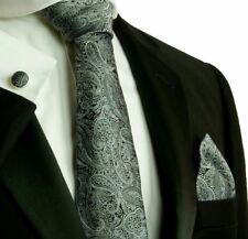 Silk Necktie Set by Paul Malone black gray Paisley cuff links pocket square new