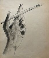 Hand w/ Paintbrush, Paul Davis (attrib.), Pen & Ink Drawing, c.1960s