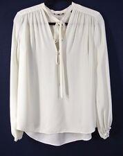 NEW Theory Bernetta Silk Tie-Neck Top- ivory P $295