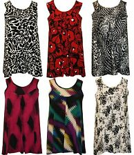 Womens Ladies Plus Size Sleeveless Stretch Floral Printed top vest Dress 16 - 26