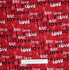 Valentine's Day Fabric - Puppy Love Words Red Black White - Kanvas 1.25 Yard