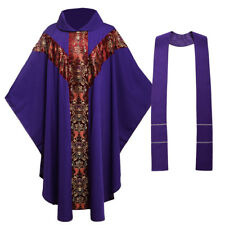 Church Clergy Vestments Purple Catholic Robe Father Priest Chasuble Cope J035