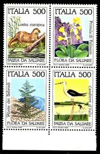 Italia 1985 : Flora e Fauna - blocco di 4 valori nuovi e non linguellato, MNH**