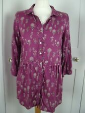 White Stuff silky feel pink floral long shirt tunic top size 10 vgc