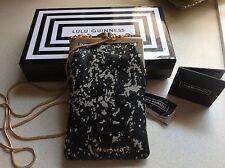 Genuine Lulu Guinness Floor Print Small Ellie Handbag Black/stone Leather