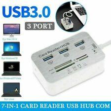 Aluminum 3 Port USB 3.0 Hub MS SD M2 TF Multi-In-1 Memory Card Reader Adapter UK
