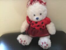 Build a bear 15 inches white with heart design wearing outfit