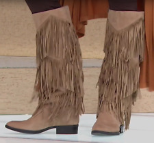 New! Sam Edelman Pendra Fringe Suede Western Boot Oatmeal Brown Suede Size 8.5