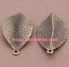 P056 6pcs Charms Antique Bronze leaves Pendant Bead Accessories wholesale