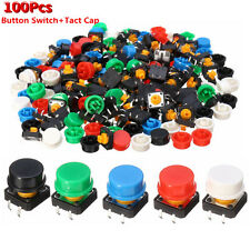 100X Tactile Switch Tact Push Button Momentary 5 Colour Round Cap 12 x12x 7.3mm