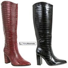Womens Knee High Boots Block Heels Zip Pointy Cowboy Riding Ladies Shoes Size UK