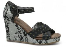 NEW Authentic TOMS+ Lurex Lace Women's Strappy Wedges, Black, Size 9.5, $140