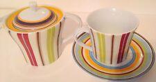 Tea Pot Cup & Saucer Set MULTIPLE CHOICE Decorative, Multicolor Striped