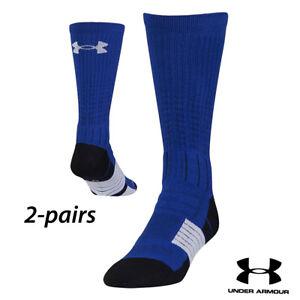 UA Socks: 2-PAIR Unrivaled Crew (L) Royal Blue/White