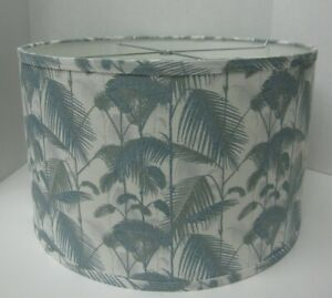 """Fabric Drum Lampshade 17"""" Wide x 10.5"""" Tall Blue Gray Fern Palm Tropical NICE"""