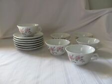 Vista Alegre pink purple flowers pat no 33 Portugal 4 demitasse cup & 6 saucers
