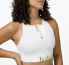 Lululemon Energy Bra - Sz 8 - High Neck Long Line Zip Special Edition White/Gold