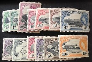 St Helena 1953 Full Set Of 13 stamps to 10 Shillings mint lightly hinged