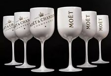 Moet Chandon Ice Imperial Design Logo, Champagne Glasses, White Goblet Set of 6