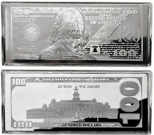 """2018 DATED PROOF 4oz CURRENCY UNC SILVER BAR FRANKLIN $100 ~ HUGE 2.5"""" x 6"""" .999"""