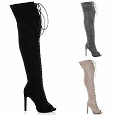 Unbranded Faux Suede Over Knee Boots Lace Up Shoes for Women