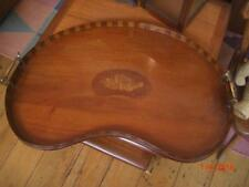 Edwardian inlaid kidney-shaped mahogany tray