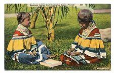 1951 used linen postcard seminole indian girls stringing beads, florida 280