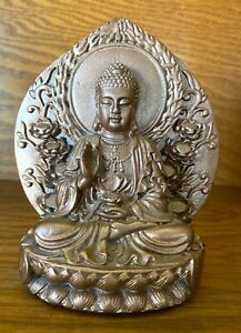 "Gold 5.5"" Buddha with Palm up holding Bowl Deity Statues"