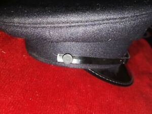 MILITARY BLACK PEAKED CAP SIZE 58, 7 1/8 SECURITY/CHAUFFEUR USE