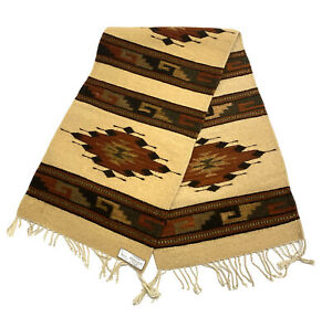 """Zapotec Mexican Table Runner Rug Hand Woven Wool Size 16"""" X 55"""" Tan and Burgundy"""