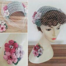 1940's 1950's birdcage veil half hat fascinator grey net flowers wedding vintage