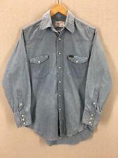 Vintage 1960's Wrangler Single Needle Pearl Snap Chambray Western Shirt USA