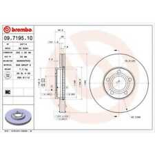 Brembo 2x Brake Discs Interior Vented 09.7195.10