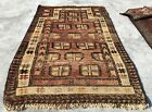 Authentic Hand Knotted Vintage Afghan Sastan Balouch Wool Area Rug 4 x 3 FT